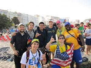Father LaLonde with Jesuit New Orleans students in Brazil.